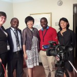 With the film crew after the interview